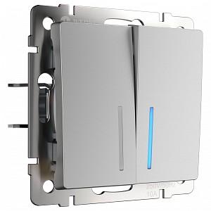 Выключатель двухклавишный с подсветкой без рамки W112 1 W1120106