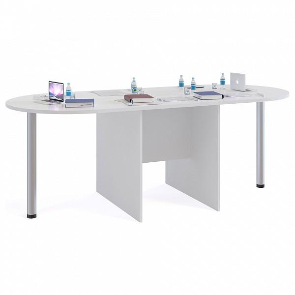 Стол для переговоров СПР-04+2 шт. СПР-03 белый фото