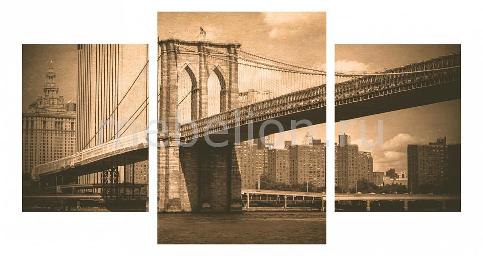 Набор панно Ekoramka Набор из 3 панно (100х550 см) Бруклинский мост ретро 174279М55100 цена