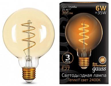 Лампа светодиодная Led Filament G95 Flexible E27 185-265В 6Вт 2400K 105802007