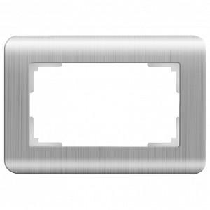 Рамка для двойной розетки Серебряный рифленый WL12-Frame-01-DBL