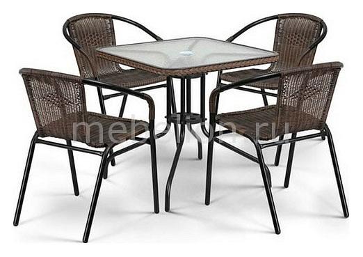 Набор уличный Afina Асоль-3 TLH-037BR3/070SR-70х70 R-05 Brown стол afina garden асоль cdt01 d60