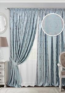 Комплект штор Vera 450x270 см., цвет голубой, молочный, серый