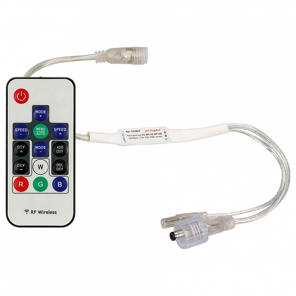 Контроллер-регулятор цвета RGBW с пультом ДУ CS-SPI-CX-RF14B (2048pix, 5V-12V, ПДУ 14 кн) ARLT_022823