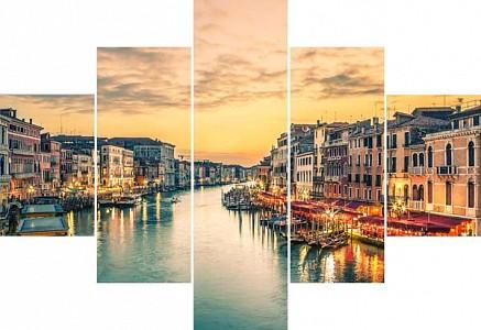 Набор из 5 картин (100х70 см) Венеция река HE-107-224