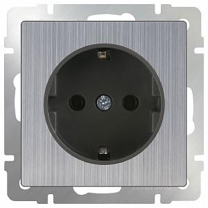 Розетка с заземлением без рамки Глянцевый никель WL02-SKG-01-IP20