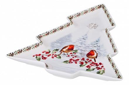 Блюдо декоративное (26х24х2.5 см) Снегири 85-1432