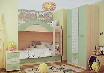 Гарнитур для детской Рико Модерн № 1 зеленый