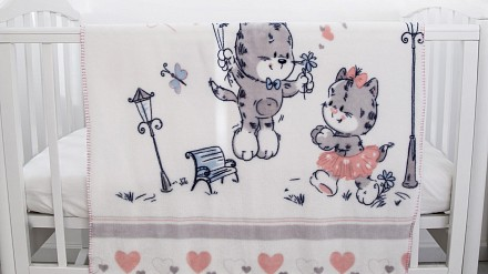 Плед (100x118 см) Котята и сердечки