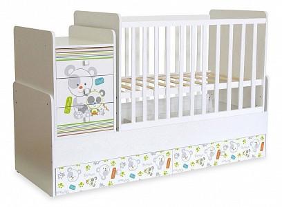 Кроватка-трансформер Polini kids Simple 1100 с комодом