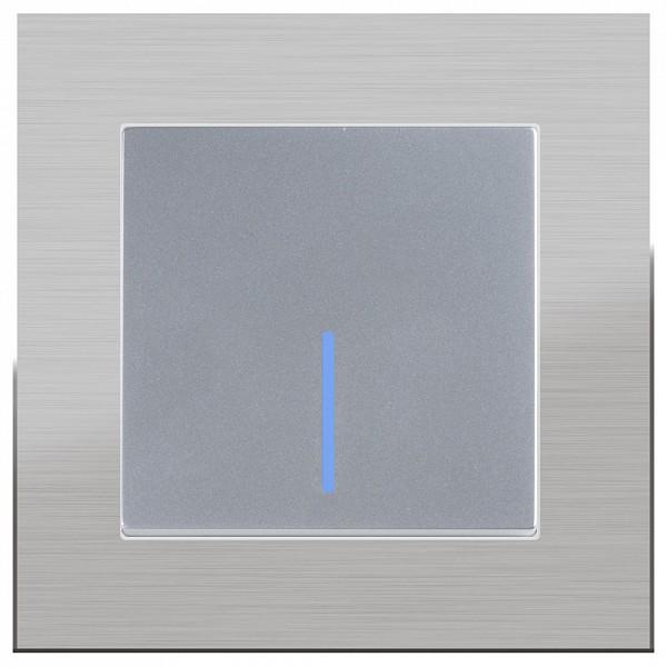 Выключатель одноклавишный с подсветкой без рамки Aluminium(Серебряный) WL06-SW-1G-C +WL06-SW-1G-LED фото