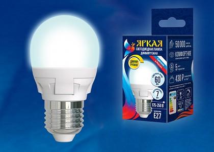 Лампа светодиодная Яркая Dim E27 175-250В 7Вт 4000K LED-G45 7W/4000K/E27/FR/DIM PLP01WH картон