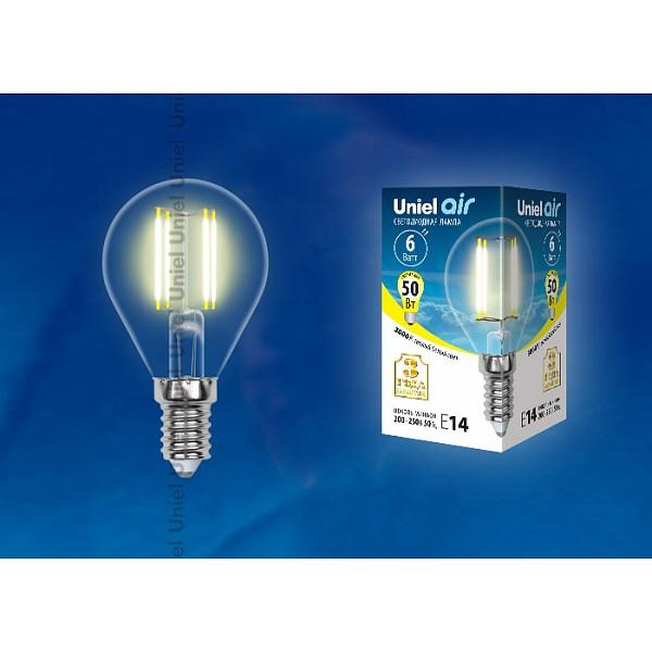 Лампа светодиодная Air E14 220В 6Вт 3000K LED-G45-6W/WW/E14/CL GLA01TR картон UL_UL-00002201