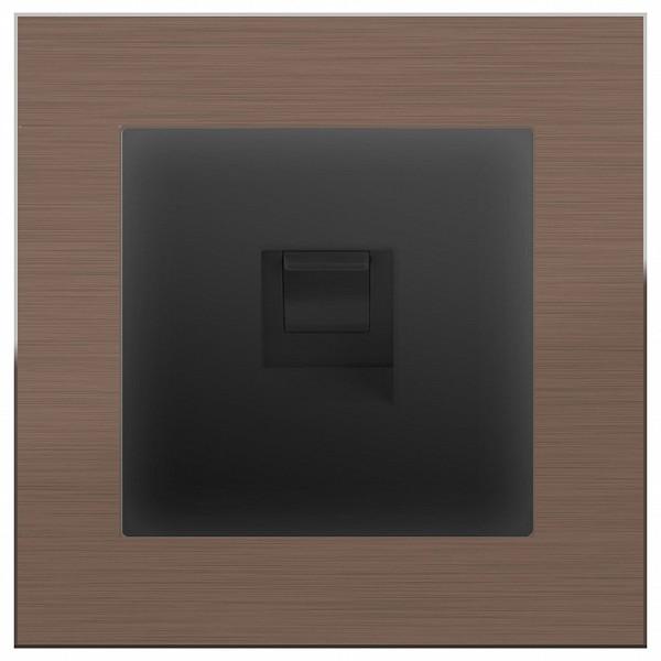 Розетка Ethernet RJ-45 Aluminium (Черный матовый) WL08-RJ-11+WL08-RJ-45 фото