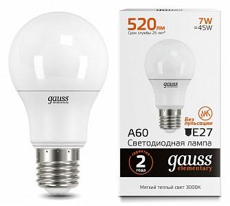 Лампа светодиодная Led Elementary A60 E27 180-240В 7Вт 3000K 23217A