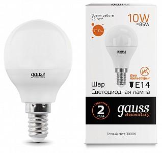 Лампа светодиодная [LED] Gauss E14 10W 3000K