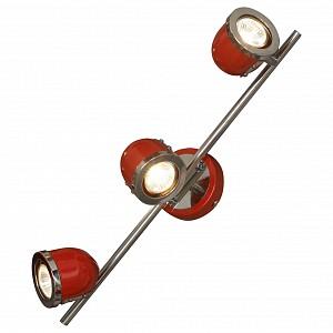 Спот поворотный Tivoli, 3 лампы GU10 по 5.5 Вт., 8.33 м², цвет красный с хромированной каймой глянцевый