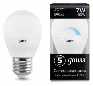 Лампа светодиодная [LED] Gauss E27 7W 4100K