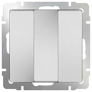 Выключатель трехклавишный без рамки Белый WL01-SW-3G