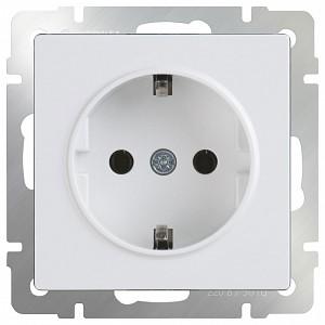 Розетка с заземлением и шторками, без рамки Белый WL01-SKGS-01-IP44