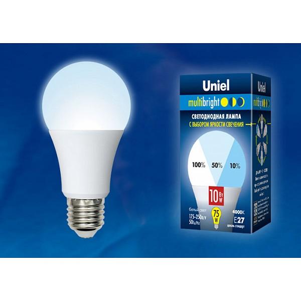 Лампа светодиодная A60 E27 175-250В 10Вт 4000K LED-A60-10W/NW/E27/FR/MB PLM11WH картон UL_UL-00002372