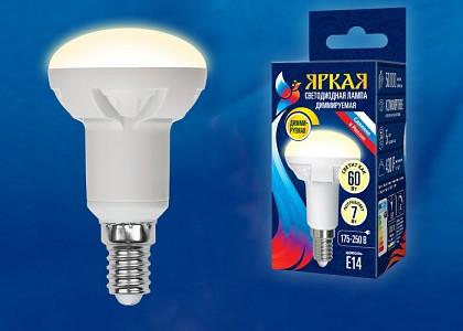 Лампа светодиодная Яркая Dim E14 175-250В 7Вт 3000K LED-R50 7W/3000K/E14/FR/DIM PLP01WH картон