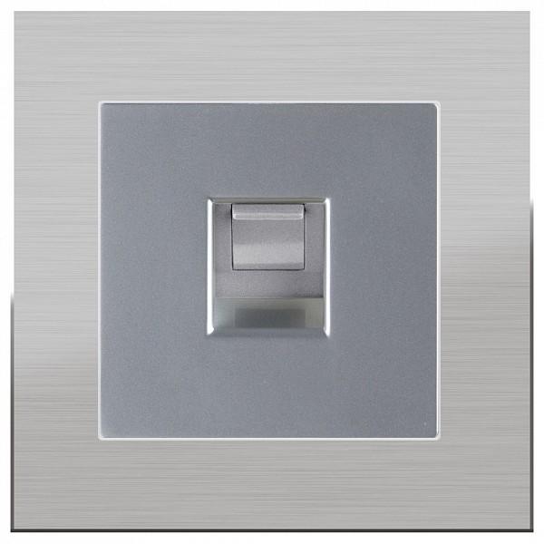 Розетка Ethernet RJ-45 без рамки Aluminium(Серебряный) WL06-RJ-11+WL06-RJ-45 фото