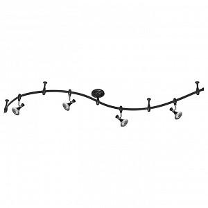 Спот поворотный Gonzago, 6 лампы  по 7 Вт., 5.7 м², цвет черный с хромированной каймой глянцевый