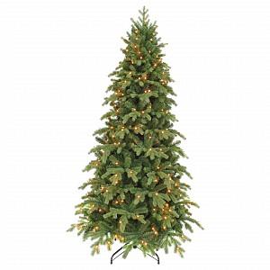 Ель новогодняя [2.6 м] Шервуд с лампами Премиум стройный зеленый 73150