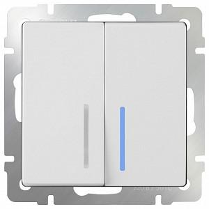 Выключатель проходной двухклавишный с подсветкой без рамки Белый WL01-SW-2G-2W-LED