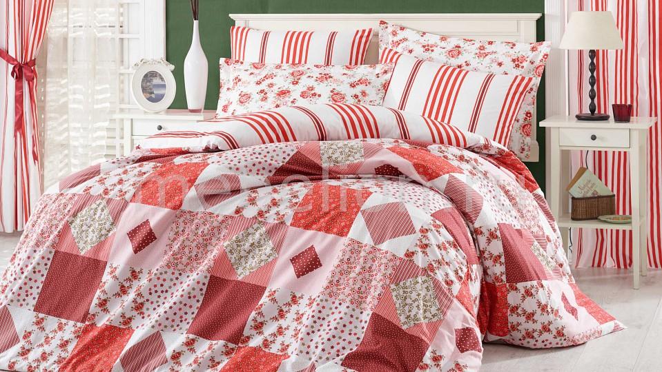 Купить Комплект двуспальный CLARA, HOBBY Home Collection, белый, красный, хлопок 100%