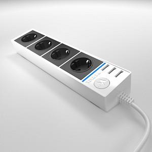 Удлинитель с выключателем Wl20 WL20-04-03 белый/черный