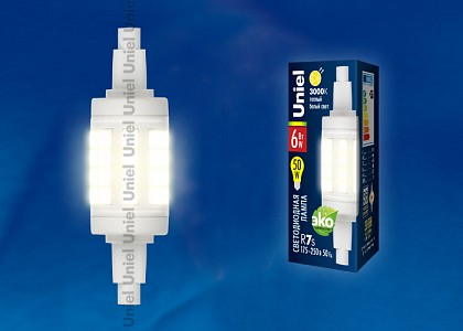 Лампа светодиодная LED-J78 R7s 175-250В 6Вт 3000K LED-J78-6W/WW/R7s/CL PLZ06WH картон