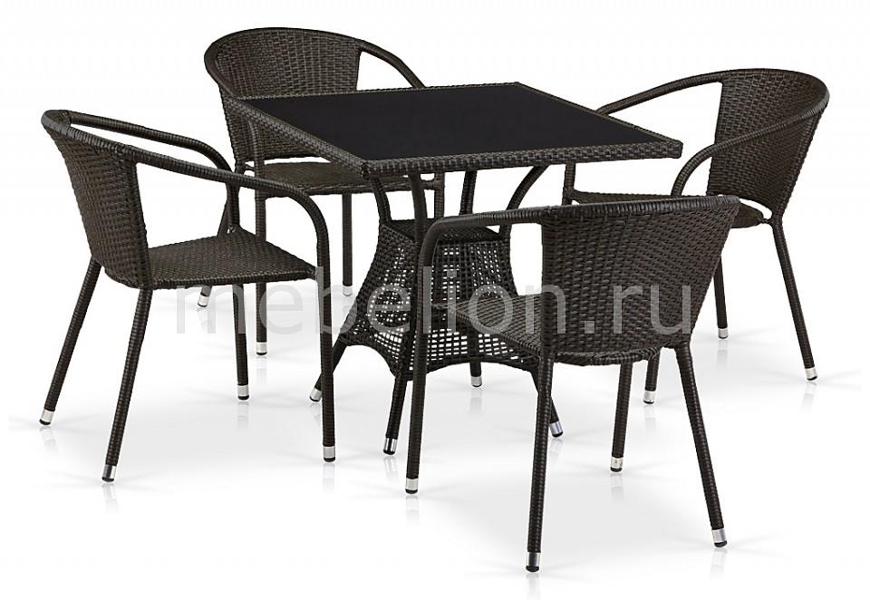 Набор уличный Afina T197BNS-W53/Y137C-W53 Brown 4Pcs комплект мебели из ротанга афина мебель t282bnt w53 y90c w51 2pcs