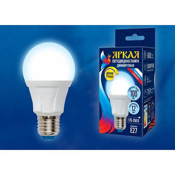 Лампа светодиодная Яркая Dim E27 175-250В 12Вт 65000K LED-A60 12W/6500K/E27/FR/DIM PLP01WH картон UL_UL-00004288