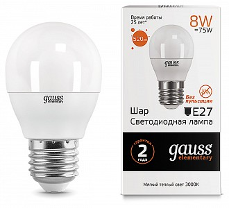 Лампа светодиодная E27 180-240В 8Вт 3000K 53218