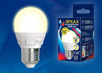 Лампа светодиодная Яркая Dim E27 175-250В 7Вт 3000K LED-G45 7W/3000K/E27/FR/DIM PLP01WH картон