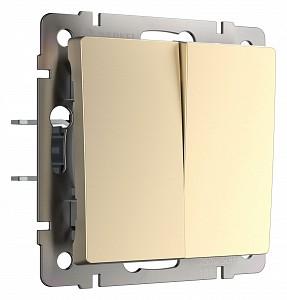 Выключатель проходной двухклавишный без рамки шампань W1122011