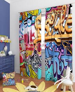 Портьера (150х260 см) 2 шт Уличное искусство