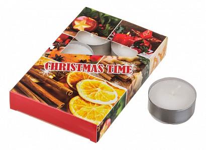 Набор из 6 свечей декоративных (4x2 см) Christmas time 348-443