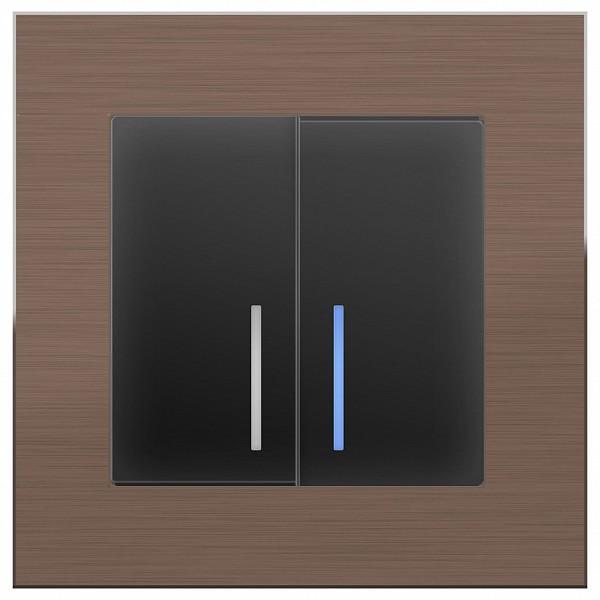 Выключатель проходной двухклавишный с подсветкой без рамки Aluminium (Черный матовый) WL08-SW-1G+WL08-SW-2G-2W-LED фото