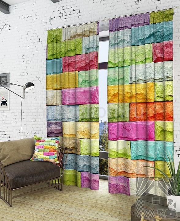 Портьера (150х260 см) 2шт. Красочная стена