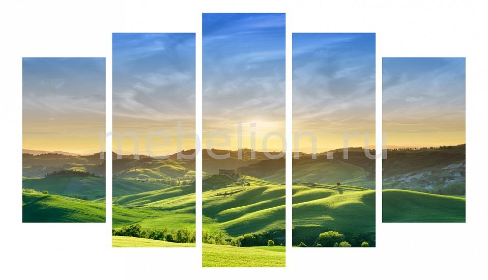 Купить Набор панно, Набор из 5 панно (1350х820 см) Зеленые луга 175243М13582, Ekoramka, Россия, голубой, зеленый, дерево, холст