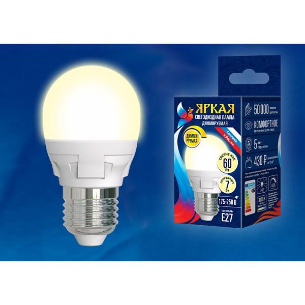 Лампа светодиодная Яркая Dim E27 175-250В 7Вт 3000K LED-G45 7W/3000K/E27/FR/DIM PLP01WH картон UL_UL-00004303