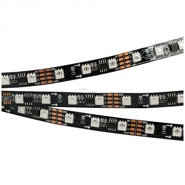 Лента светодиодная [5 м] SPI-5000-5060-60 12V Cx3 RGB-Auto (Black 10mm, 13.2W/m, IP20) 024600(1) ARLT_024600_1