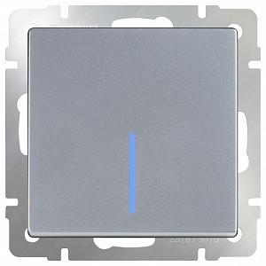 Выключатель проходной одноклавишный с подсветкой без рамки Серебряный WL06-SW-1G-2W-LED