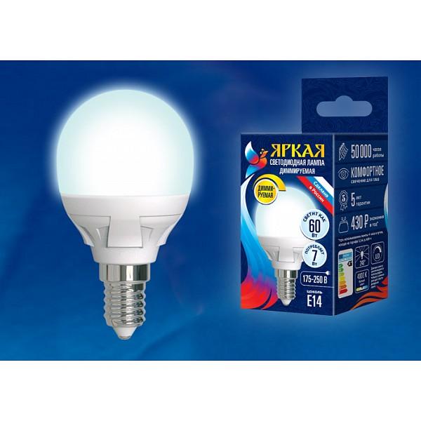 Лампа светодиодная Яркая Dim E14 175-250В 7Вт 4000K LED-G45 7W/4000K/E14/FR/DIM PLP01WH картон фото