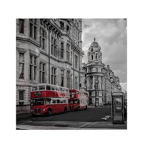 Картина (30х30 см) Красные автобусы HE-101-450