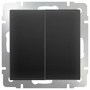 Выключатель двухклавишный без рамки Черный матовый WL08-SW-2G