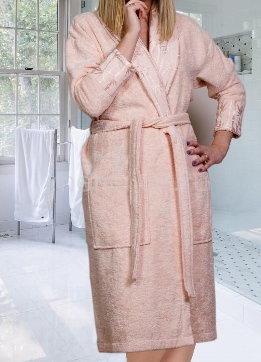 Купить Халат женский (S) ELIZA, HOBBY Home Collection, персиковый, хлопок 100%